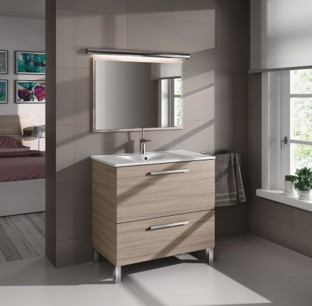 Mueble de baño con lavabo 1 puerta abatible, 1 cajón, y espejo de URBAN