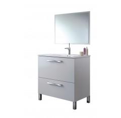 Mueble blanco con 1 puerta abatible, 1 cajón y espejo, con lavabo incluido URBAN
