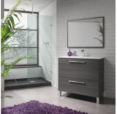 Mueble gris ceniza con 1 puerta abatible, 1 cajón y espejo, con lavabo URBAN