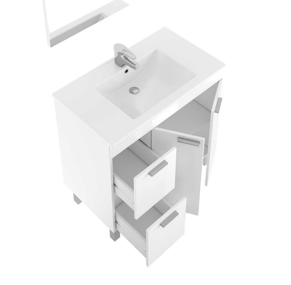 Mueble de baño con lavabo, con 2 puertas, 2 cajones y espejo de AKTIVA