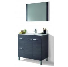 Mueble de baño con 2 cajones, 2 puertas, espejo y lavabo de AKTIVA