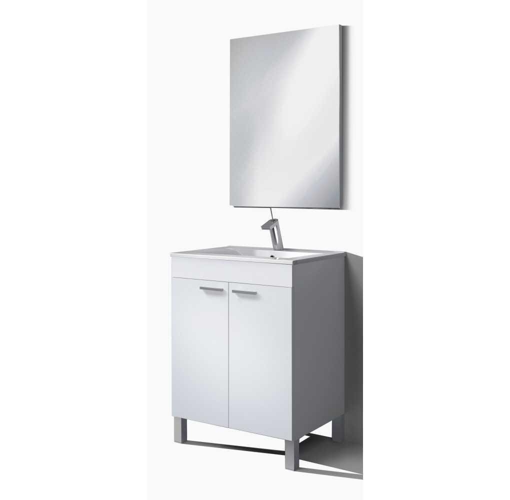 Mueble de baño con 2 puertas, espejo y lavabo