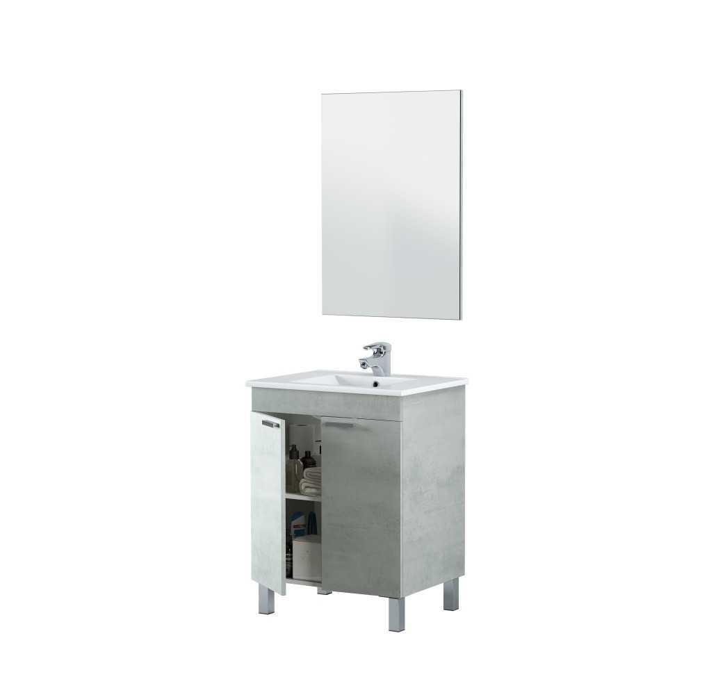 Mueble de baño color cemento con 2 puertas, espejo y lavabo
