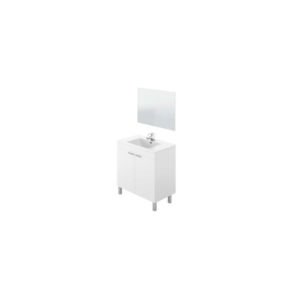 Mueble de baño color blanco brillo con 2 puertas, espejo y lavabo incluido