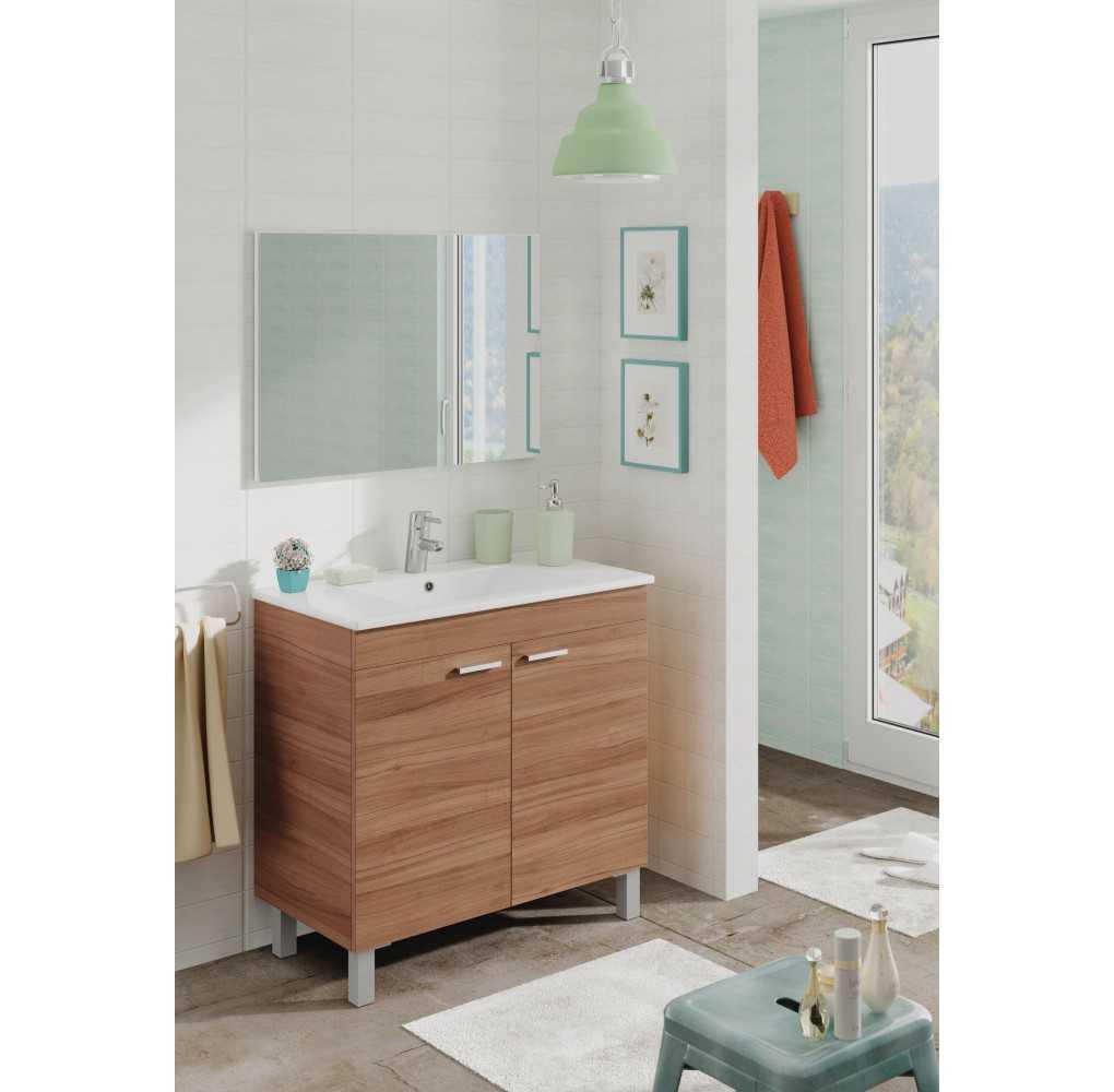 Mueble de ba o color nogal con 2 puertas espejo y lavabo for Mueble con espejo para bano