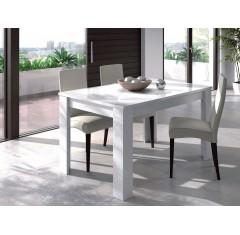 Mesa de comedor extensible blanco brillo de PRACTICO