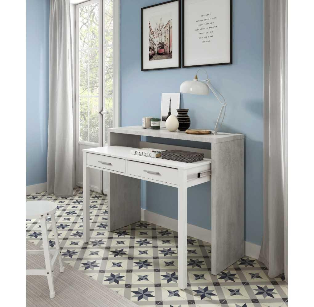 Mueble escritorio tipo consola TYRION color cemento