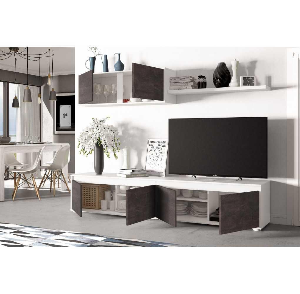 Mueble de salón y TV modelo HOME color blanco y oxido