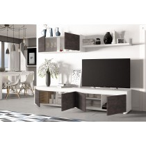 Mueble de salón y TV modelo HOME color blanco y oxido
