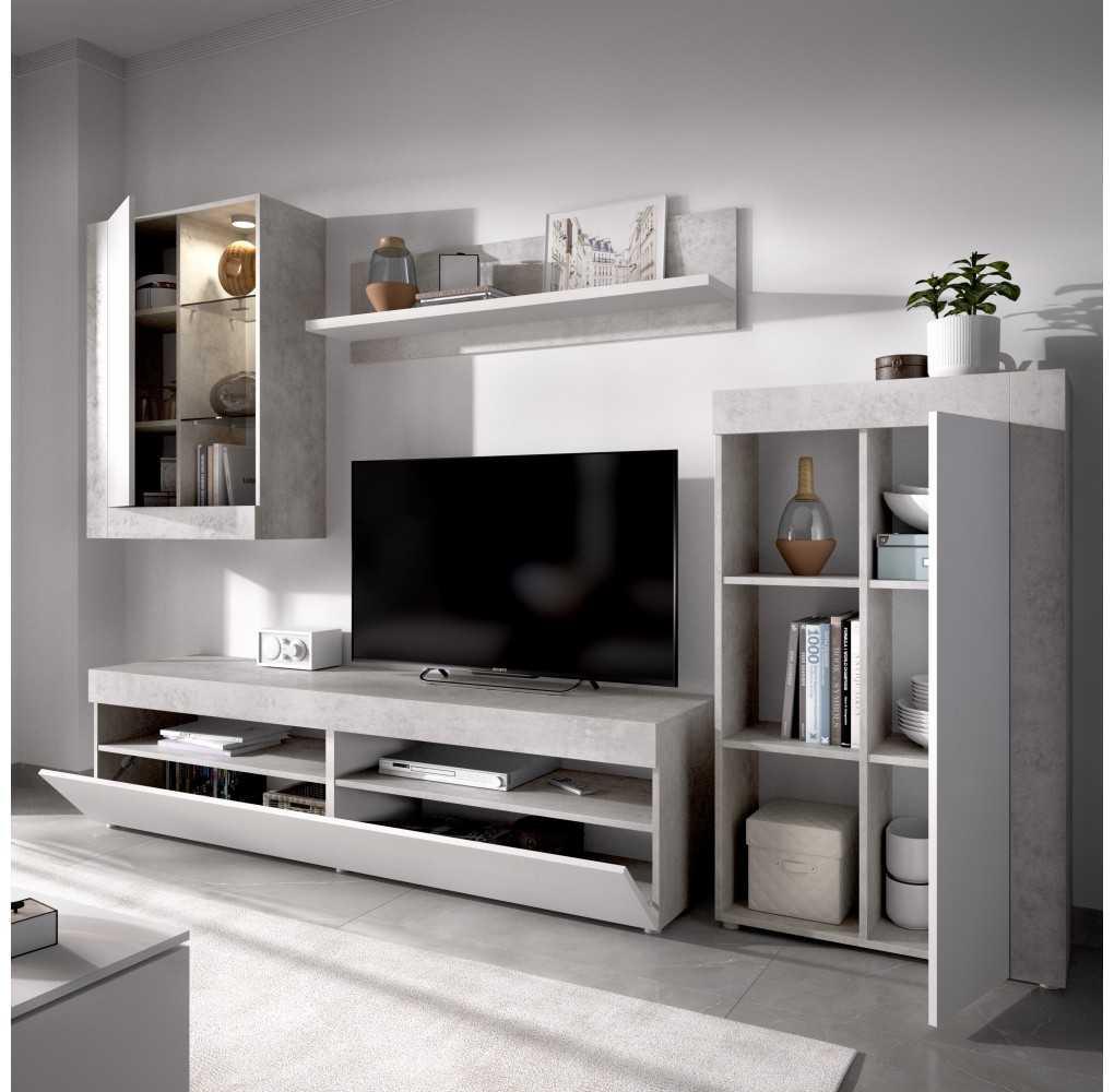 Mueble de Salón para TV con Vitrina y Leds