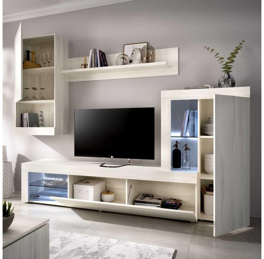 Mueble de Salón para TV con Vitrina y Leds Modelo Kure