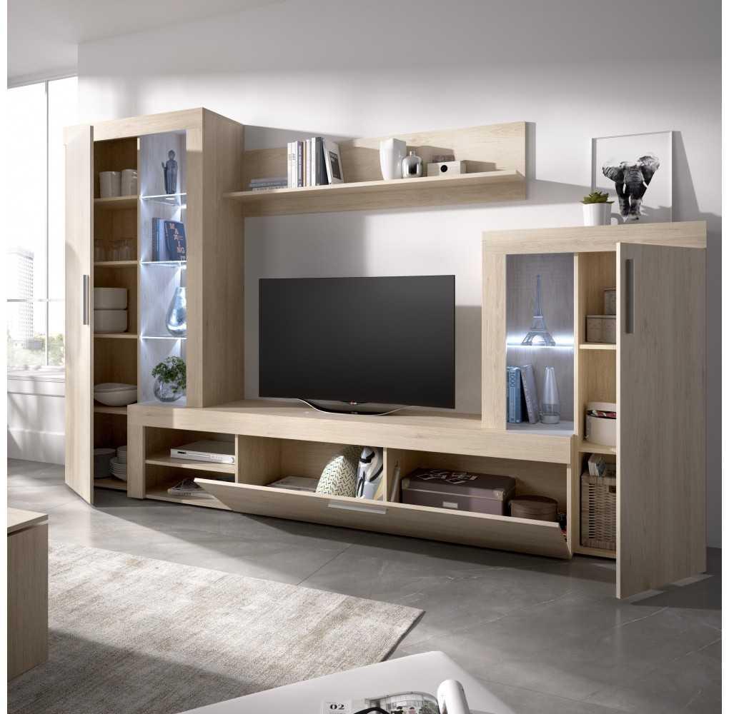 Mueble de Salón para TV con Vitrina y Leds Modelo Glein