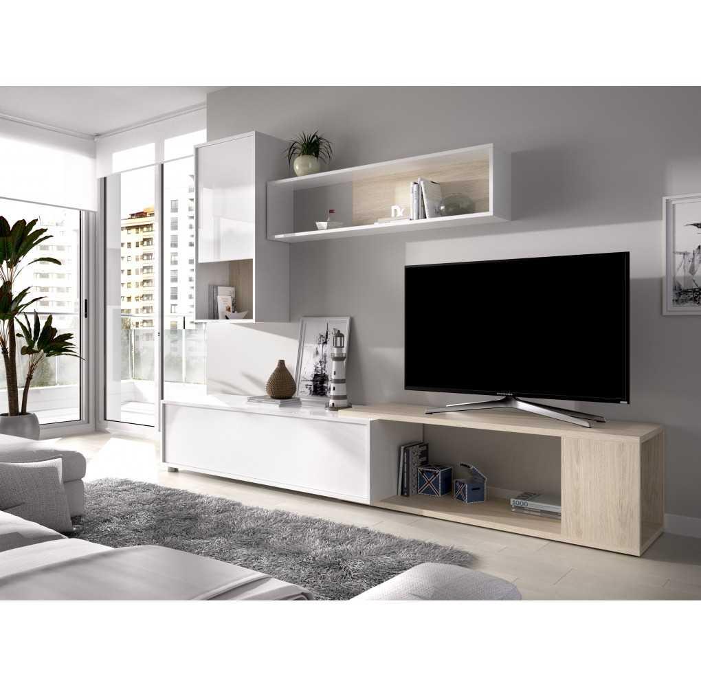 Salón para TV Flexible, y Aparador con Estantería, Modelo Obi
