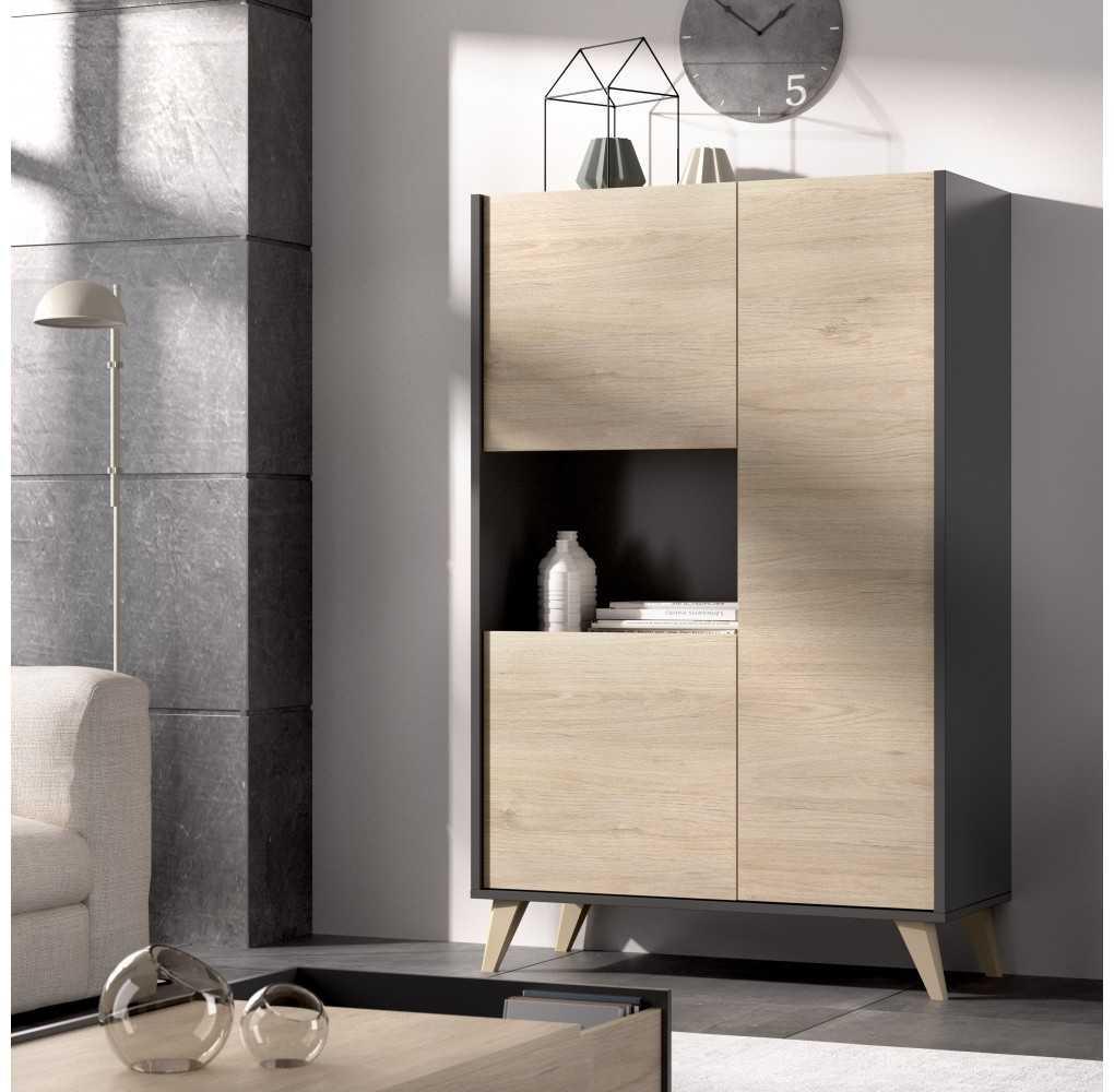 Muebles de Salón, Módulo Alto con 3 puertas, Aparador con 3 puertas, y Mesa Comedor Dine, Modelo Ness