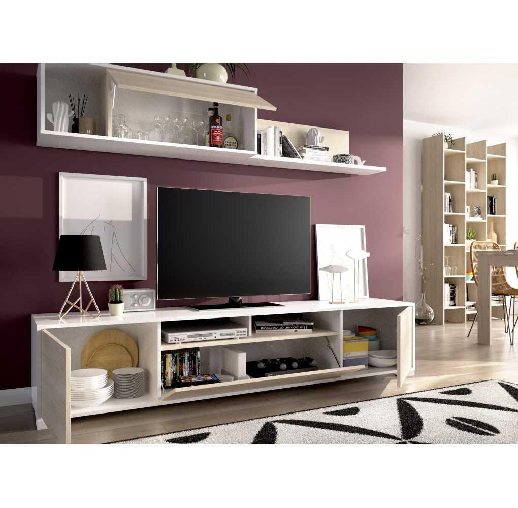 Mueble Salón para TV con puertas y Estante a Pared
