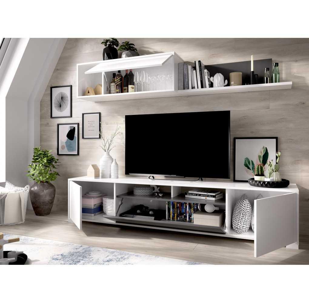 Mueble Salón para TV con puertas y Estante a Pared Modelo Ken Blanco Brillo y Grafito
