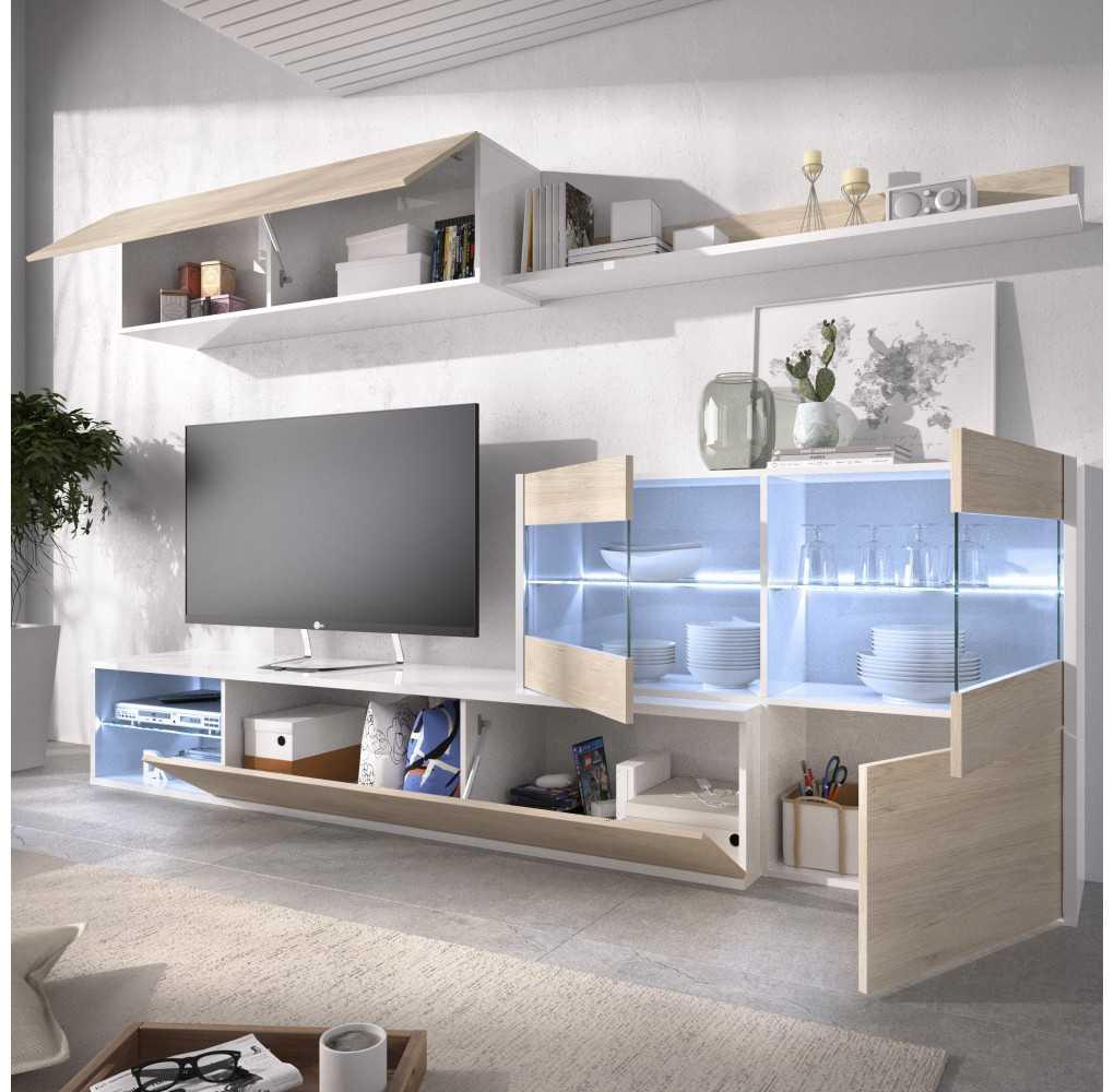 Mueble Salón para TV con Vitrina y Leds Modelo UMA Blanco Brillo y Natural