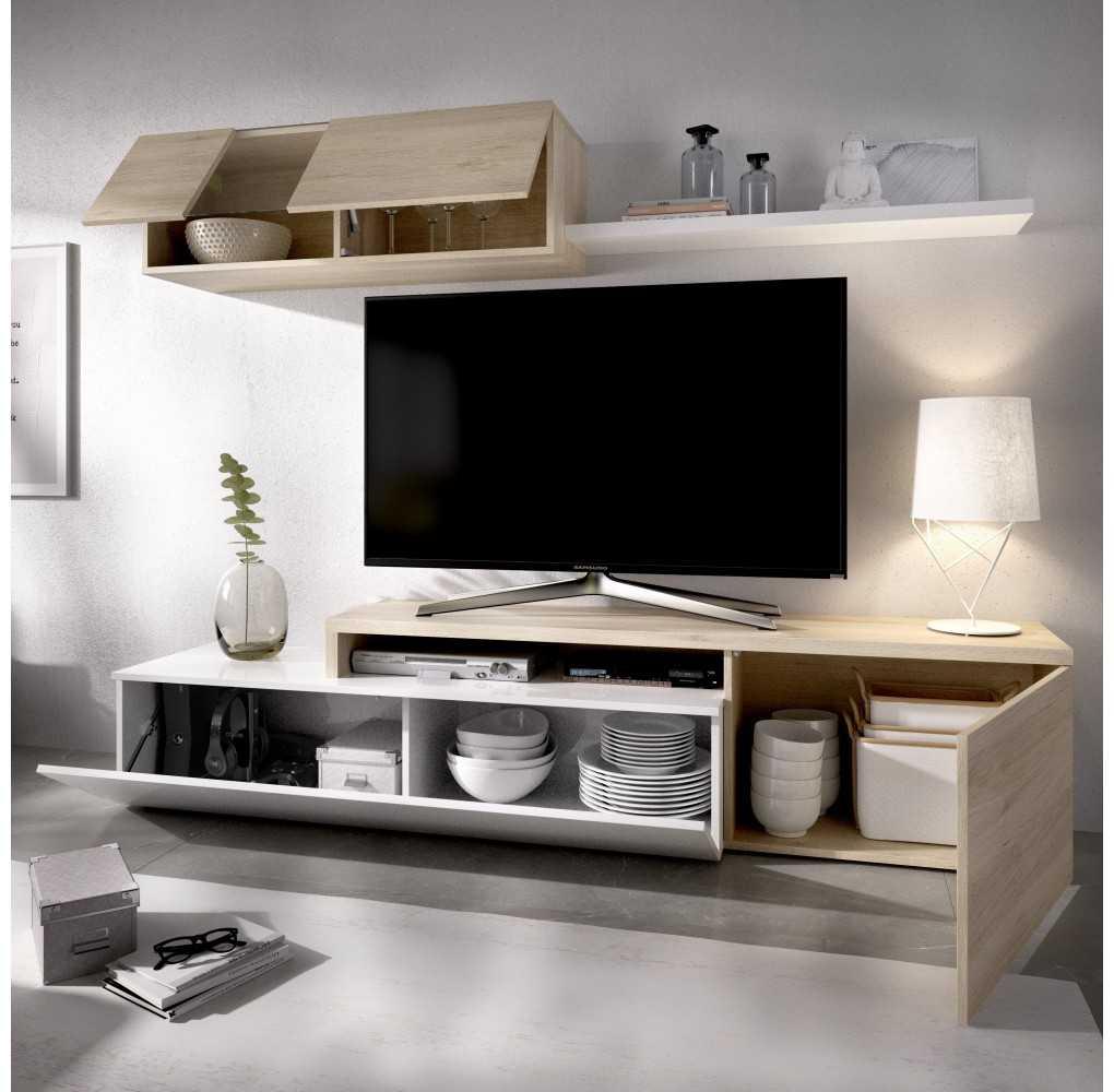 Mueble Salón para TV Compacto Modelo Elle Blanco Brillo y Natural