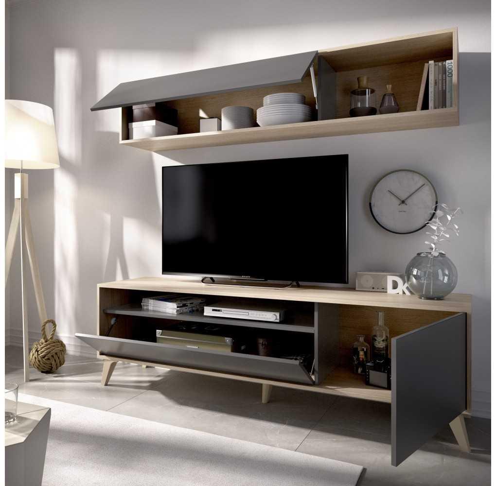 Mueble Salón para TV Compacto Modelo Bonn Natural y Grafito