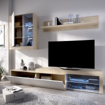 Mueble Salón para TV con Leds, con Puertas y Estante a pared Modelo Koln Natural y Blanco Brillo
