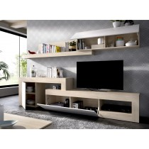 Mueble Salón para TV Modular Modelo Lebo Natural y Blanco Brillo