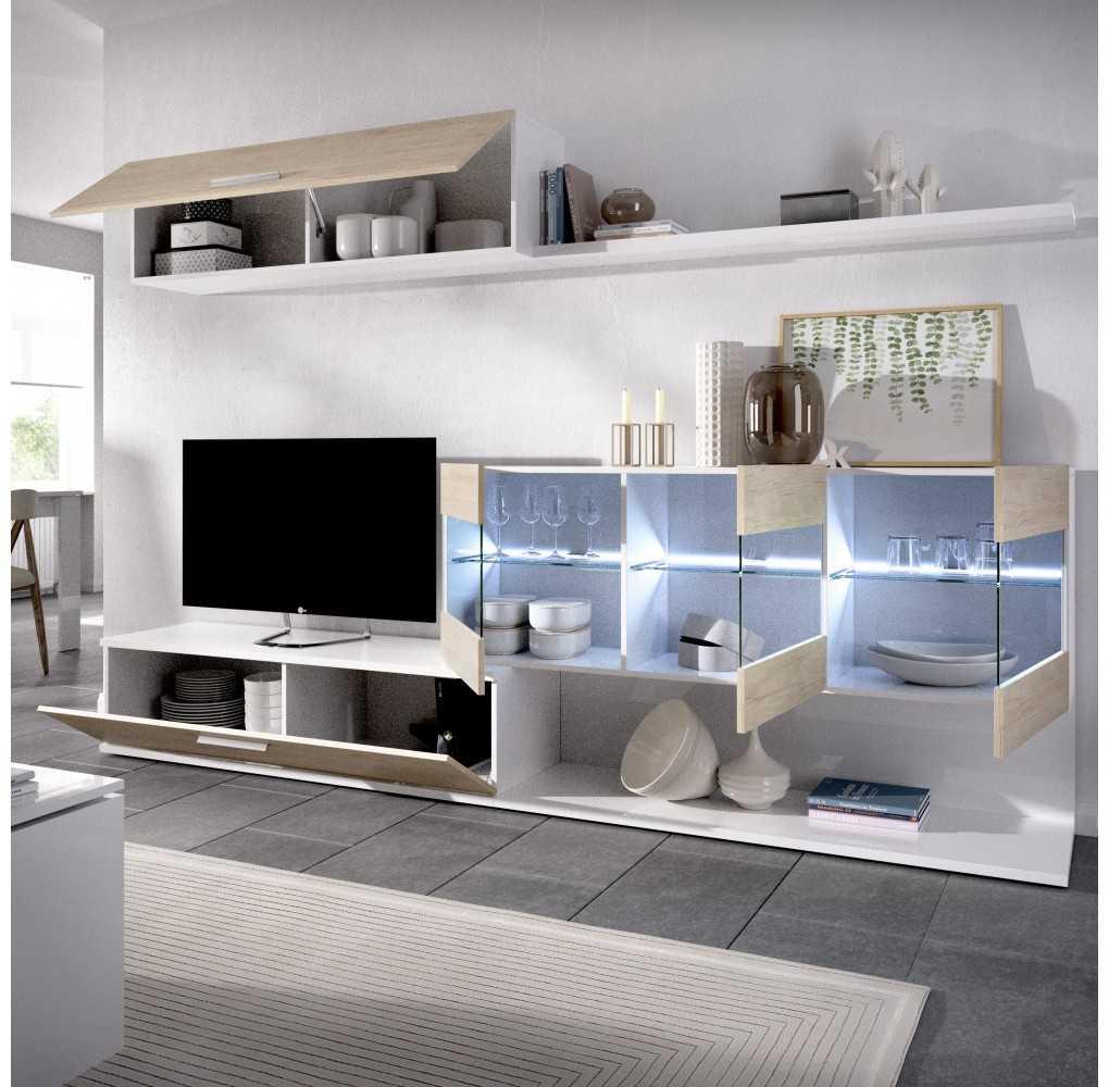 Mueble Salón para TV con Vitrina y Leds Modelo Han Natural y Blanco Brillo