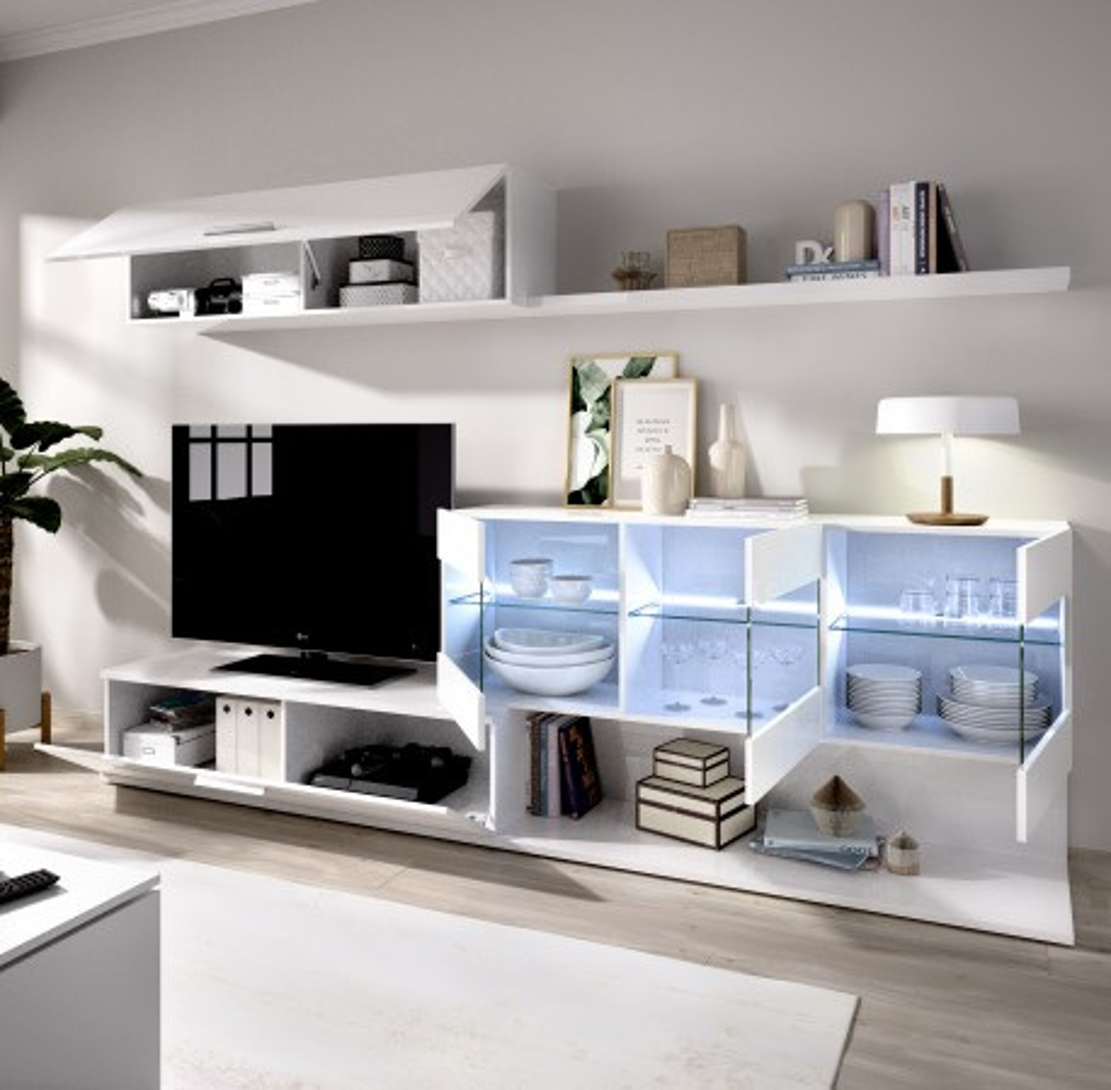 Mueble Salón para TV con Vitrina y Leds Modelo Han Blanco Brillo