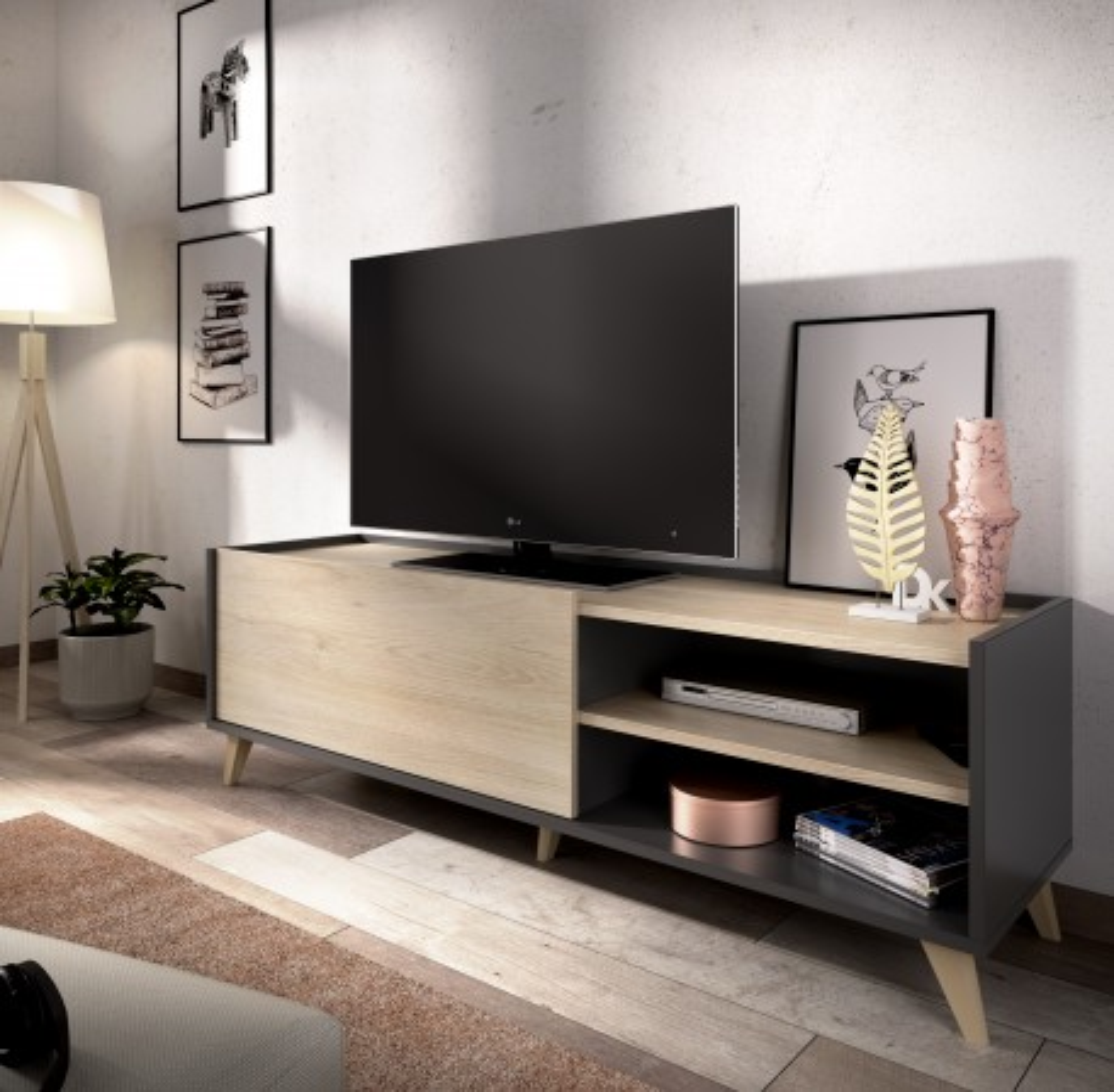 Mueble Bajo para TV de 2 puertas Modelo Siena Grafito y Natural