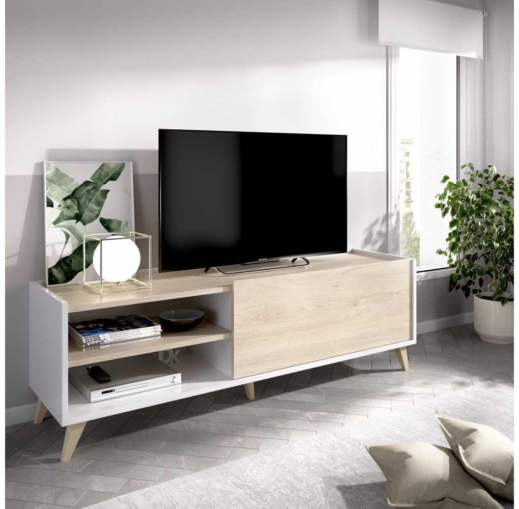 Mueble Bajo para TV Modelo Ness Blanco y Natural