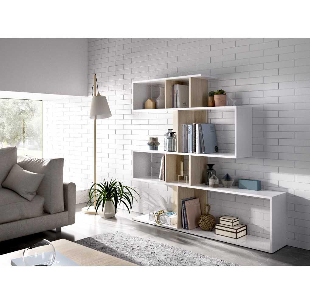 Mueble de Estantería Modelo Lau Blanco y Natural