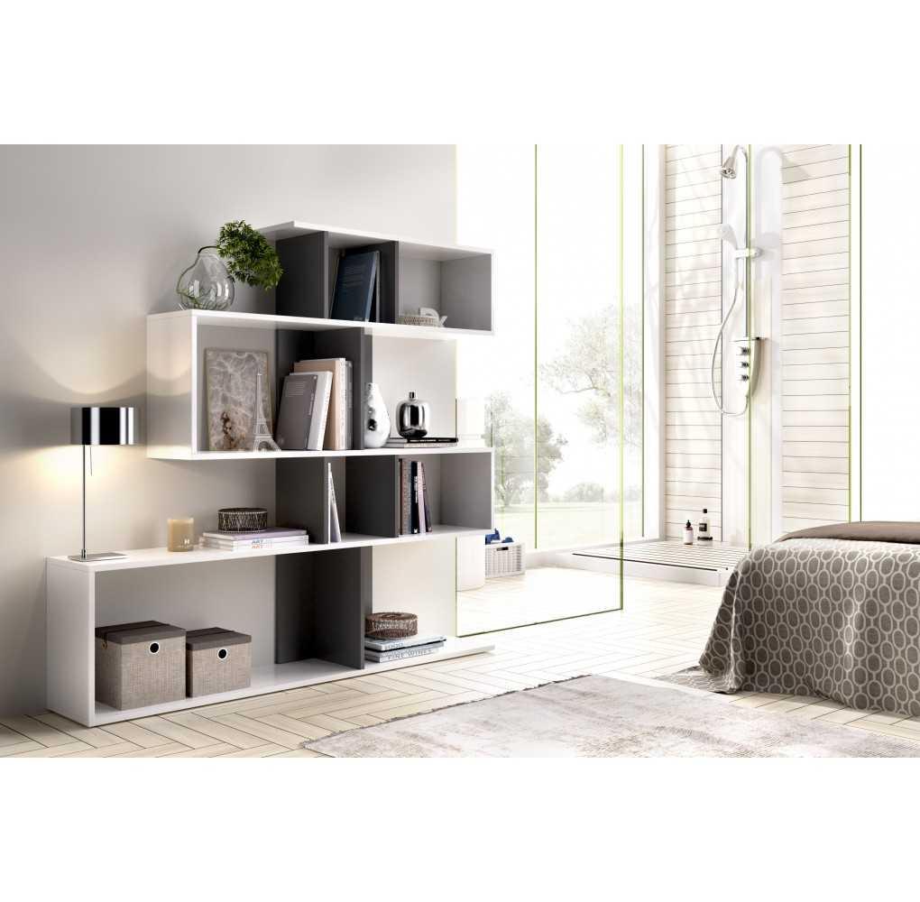 Mueble de Estantería Modelo Lau Blanco y Grafito