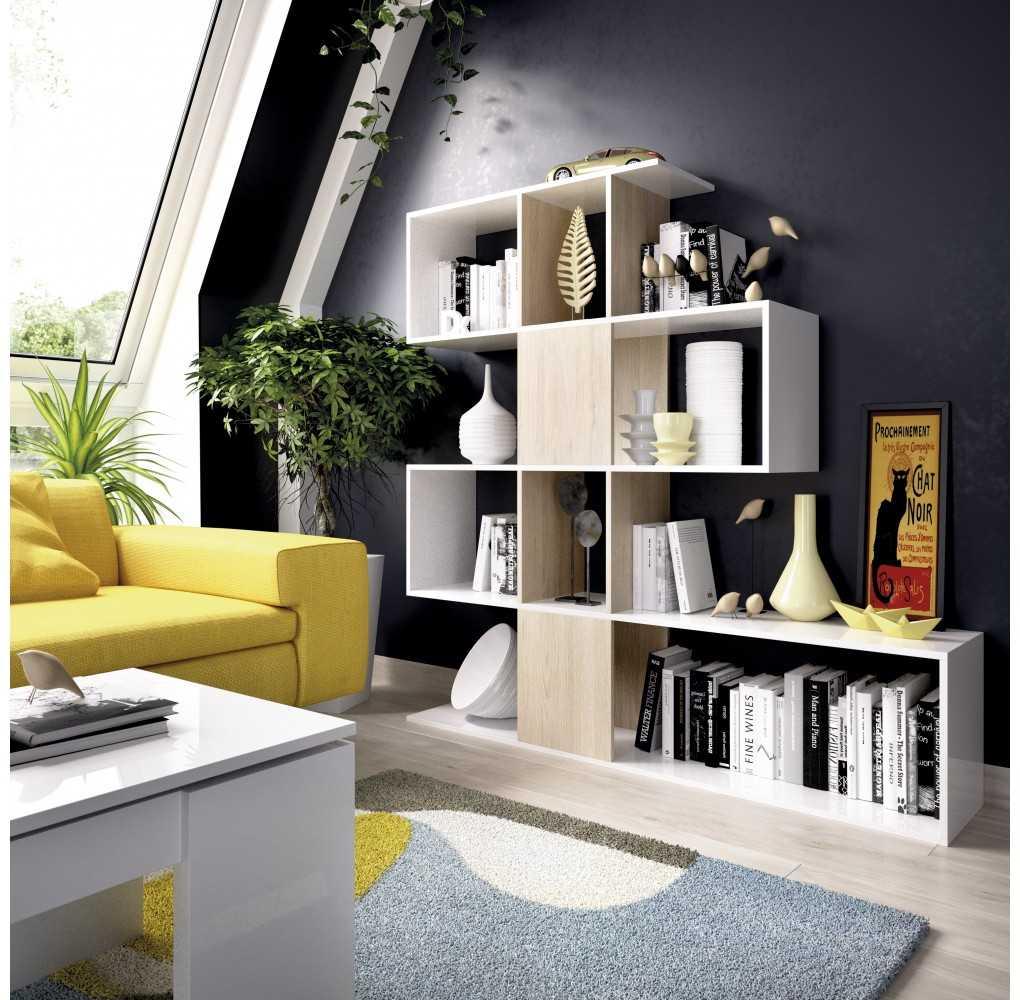 Mueble de Estantería Modelo Funk Blanco Brillo y Natural