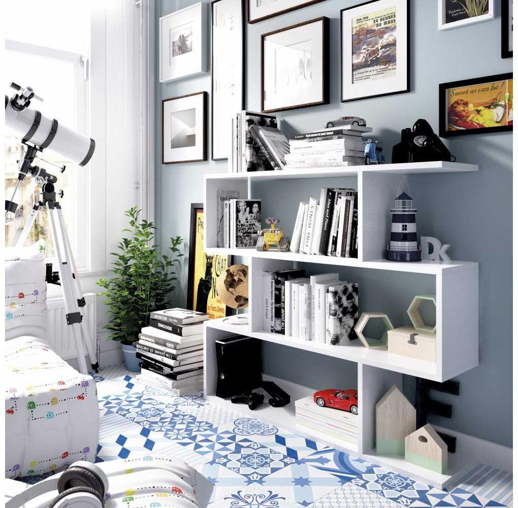 Mueble de Estantería Baja Modelo Lis Blanco Brillo