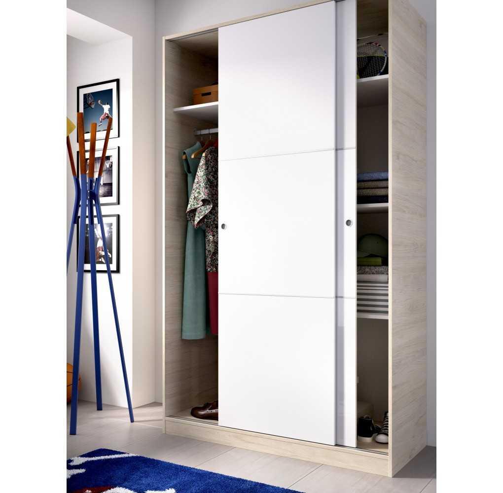 Armario con 2 Puertas Corredera Plus 120 Mueble Modelo Slide Natural y Blanco Brillo
