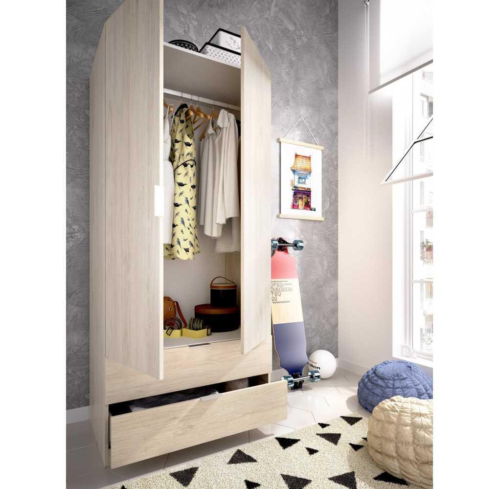 Armario con 2 Puertas y 2 Cajones 80 Mueble Modelo Essen Natural