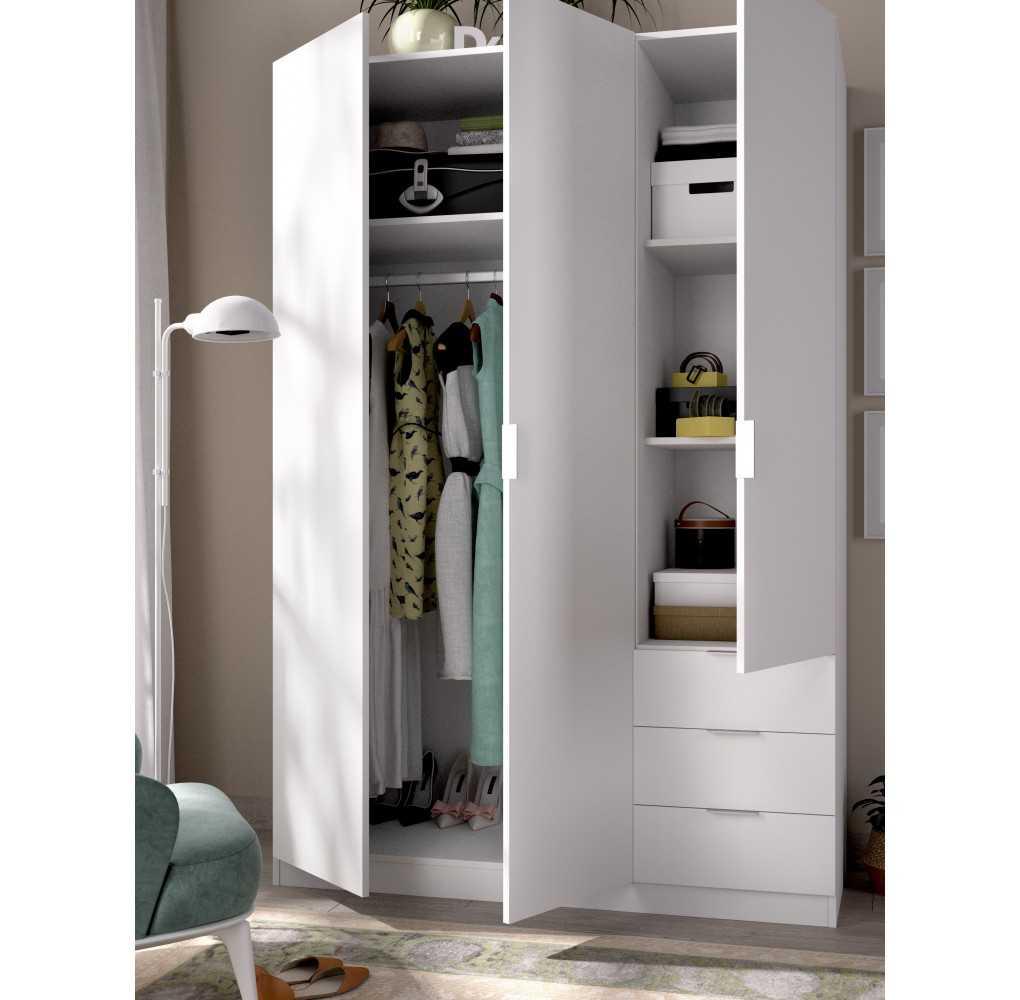 Armario con 3 Puertas y 3 Cajones Mueble Modelo Essen Blanco