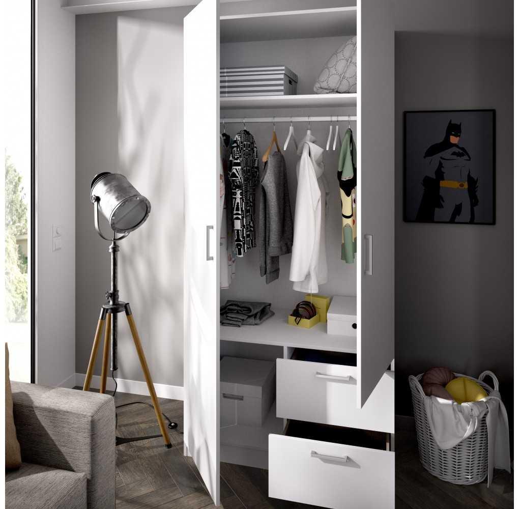 Armario con 2 Puertas y 2 Cajones Mueble Modelo Maxi Blanco