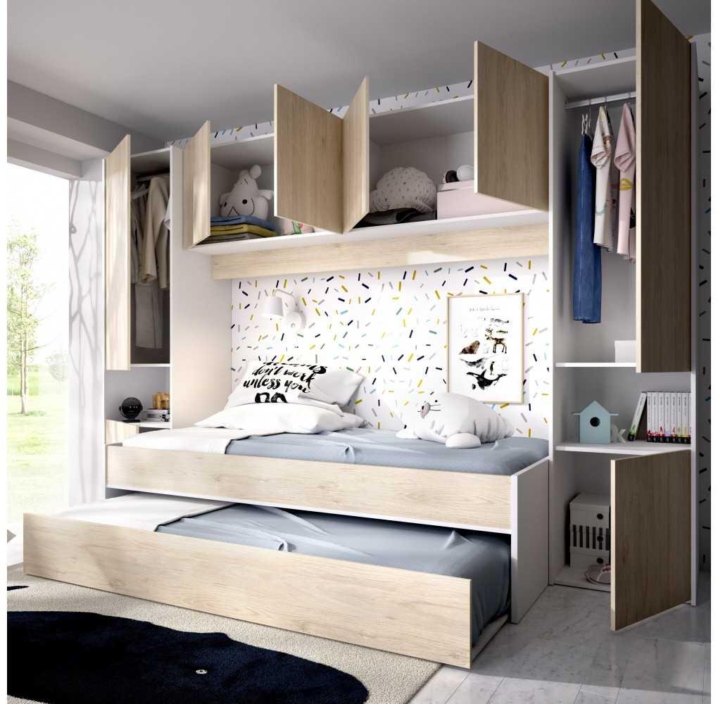 Mueble con 2 Camas, Armario y Altillo Modelo KWAI Blanco y Natural