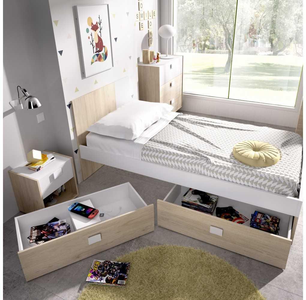 2 Cajones para Cama Mueble Modelo Dina Natural y Blanco
