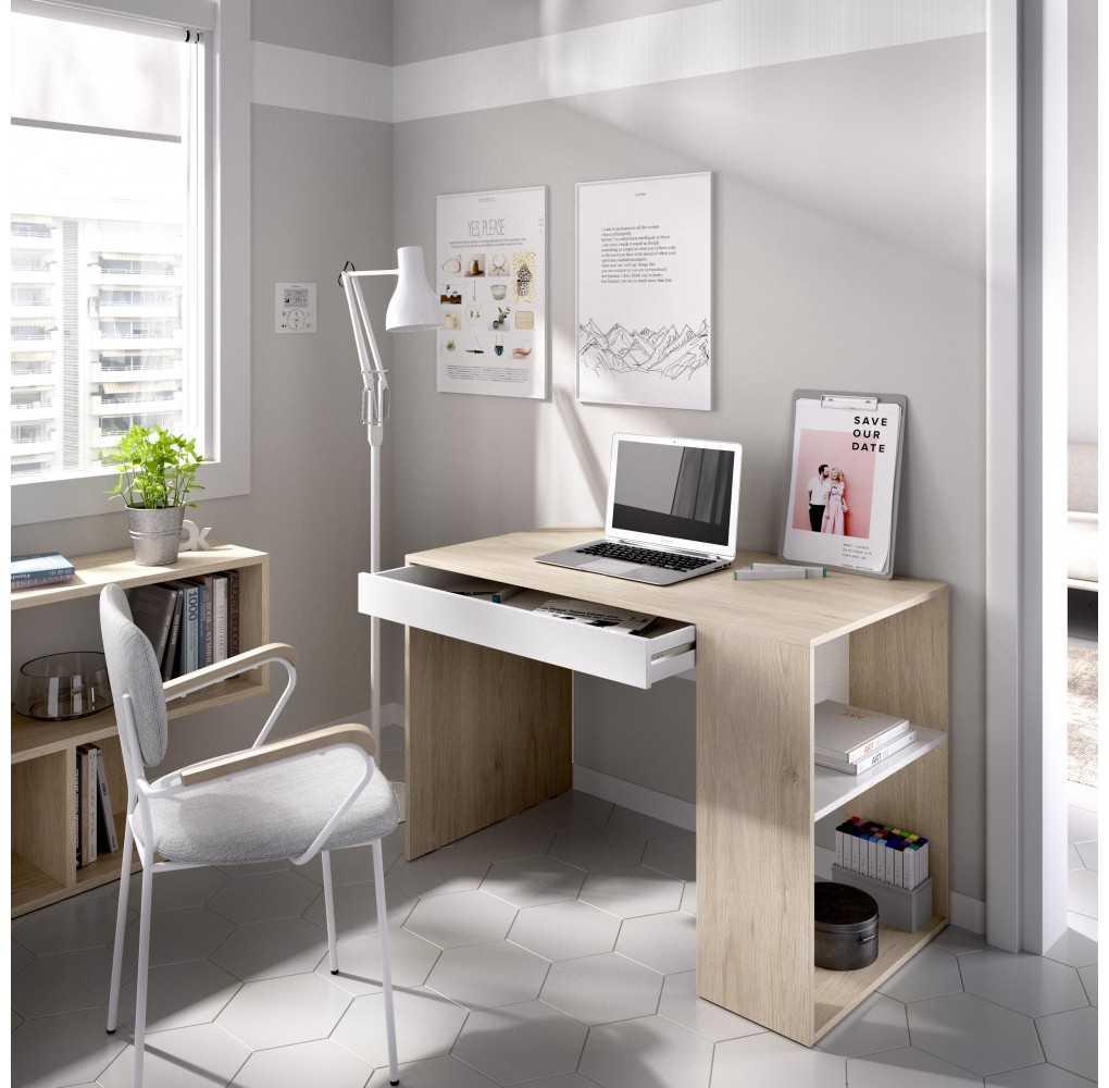 Mueble Escritorio con Estante y 1 Cajón Modelo TEO Natural y Blanco