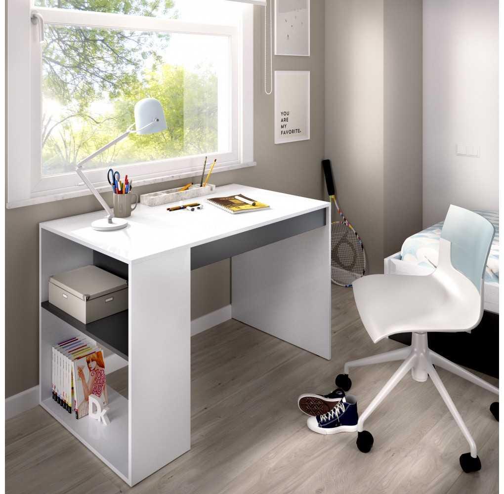 Mueble Escritorio con Estante y 1 Cajón Modelo TEO Blanco y Grafito