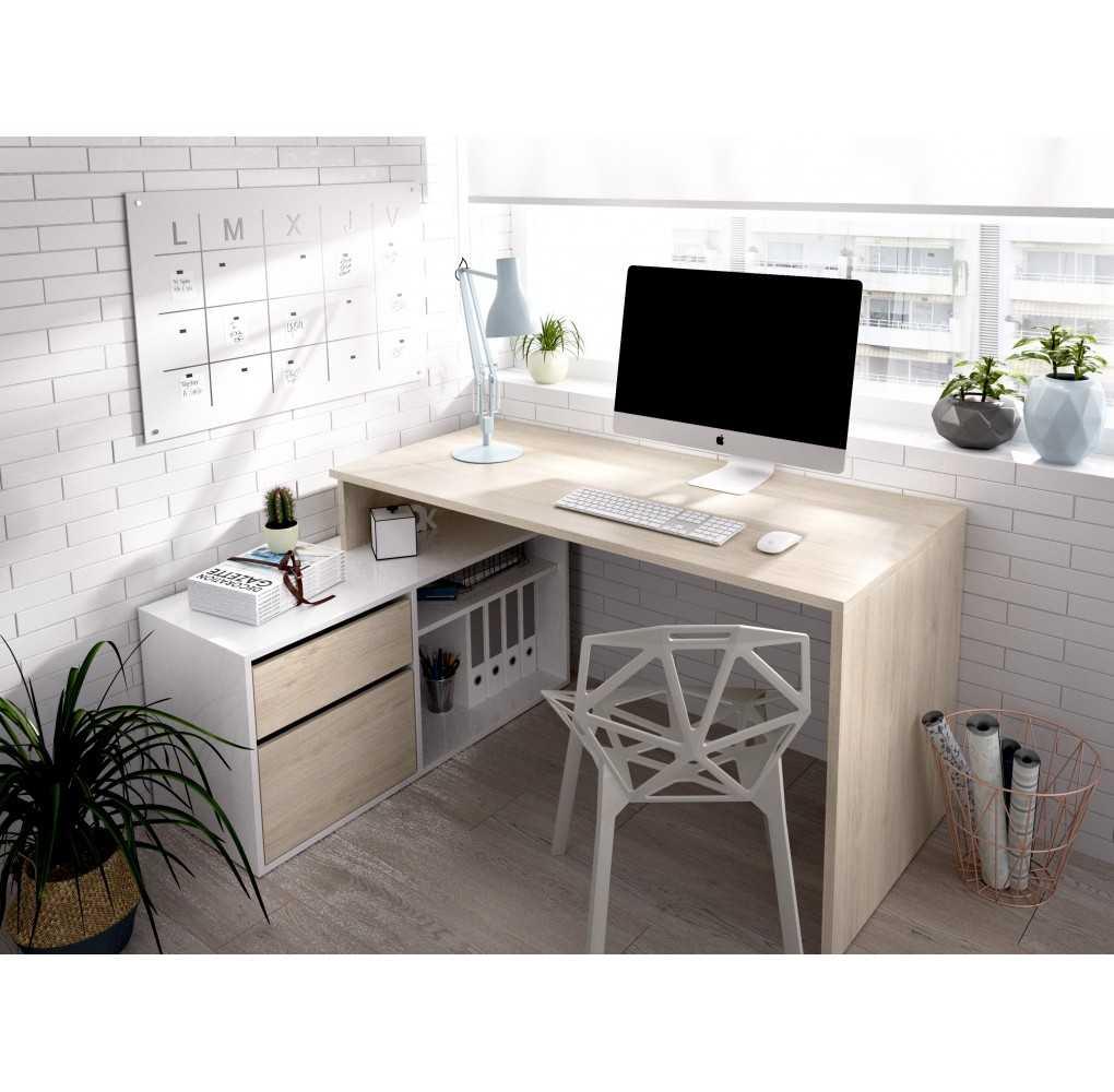Mesa Escritorio Mueble L Modelo ROX Natural y Blanco Brillo