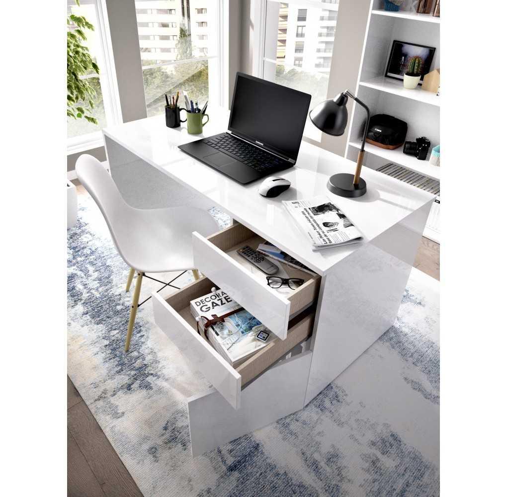 Mesa Escritorio con 2 Cajones y 1 Puerta Mueble Modelo Shiro Blanco Brillo