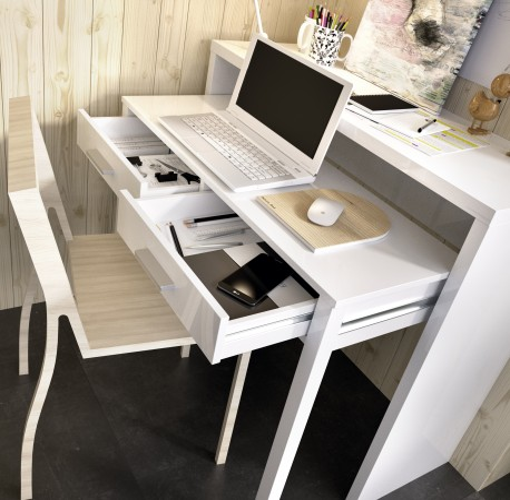 Consola Extensible Mueble Modelo Seven Blanco Brillo