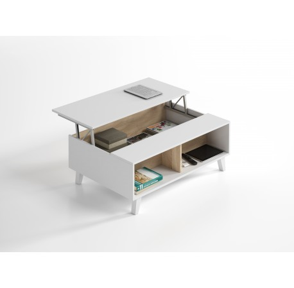 Mesa de Centro Elevable Modelo Stylus Plus Blanco Brillo y Roble Canadian