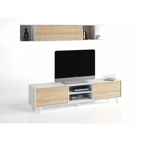 Mueble de Salón TV Modelo Stylus Plus Blanco Brillo y Roble Canadian