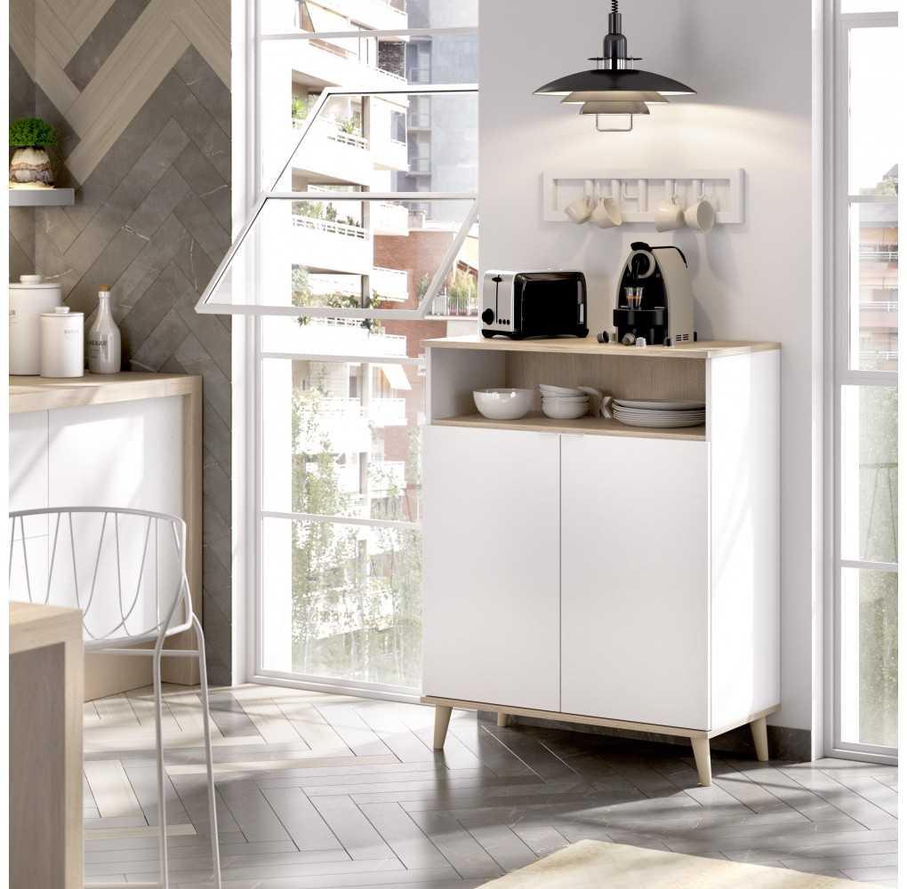 Mueble Auxiliar con 2 Puertas Modelo Wok Blanco y Natural