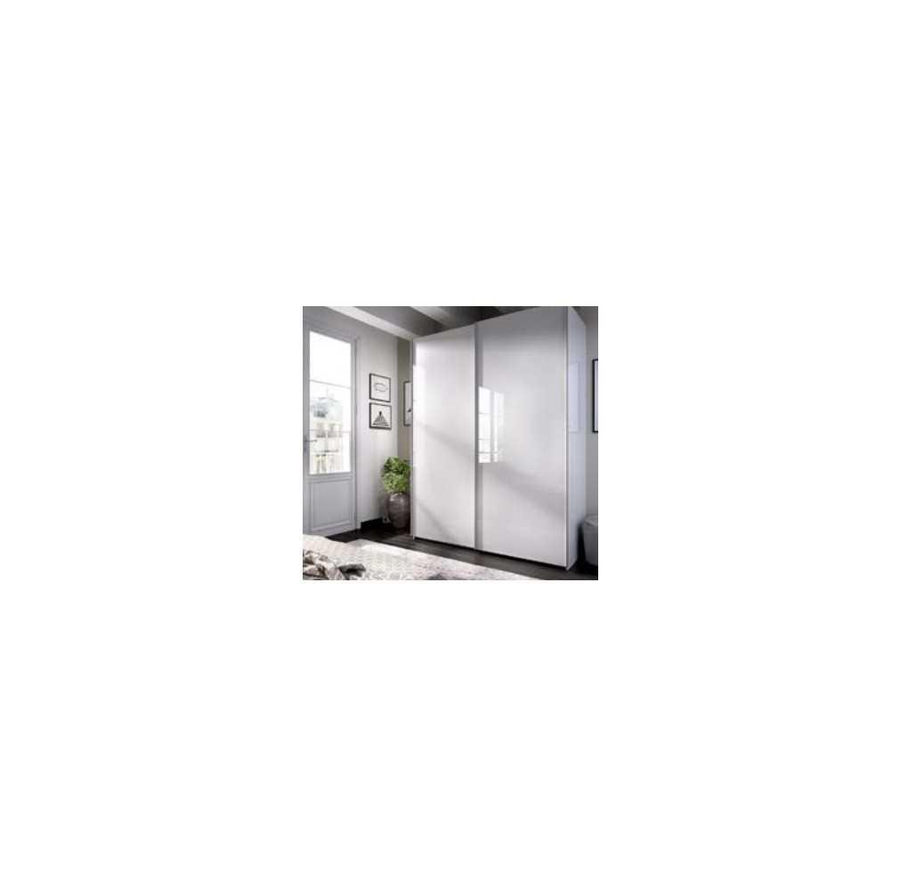 Armario con 2 Puertas Corredera 150 Mueble Modelo Slide Blanco Brillo
