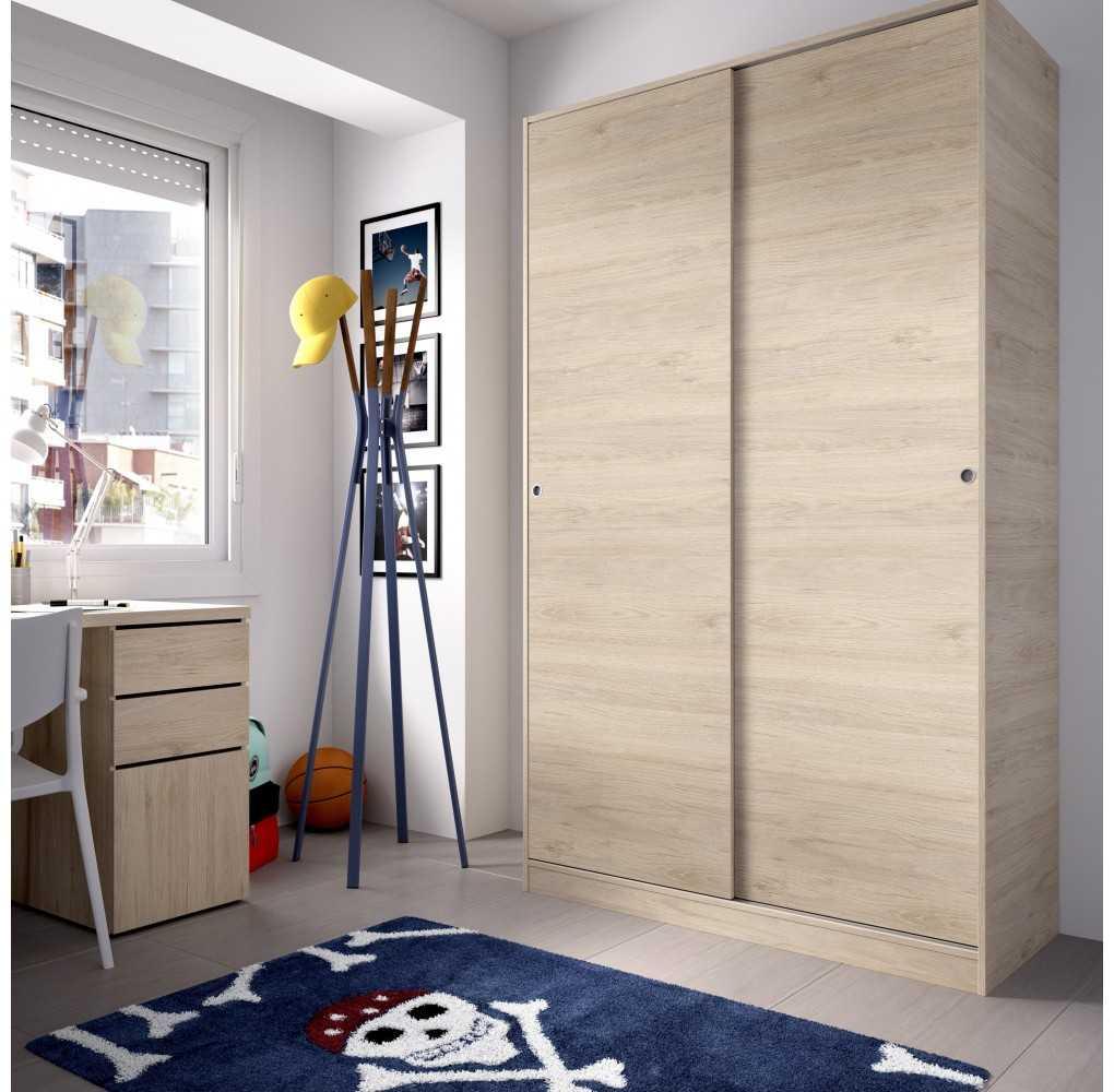 Armario con 2 Puertas Corredera Plus 120 Mueble Modelo Slide Natural
