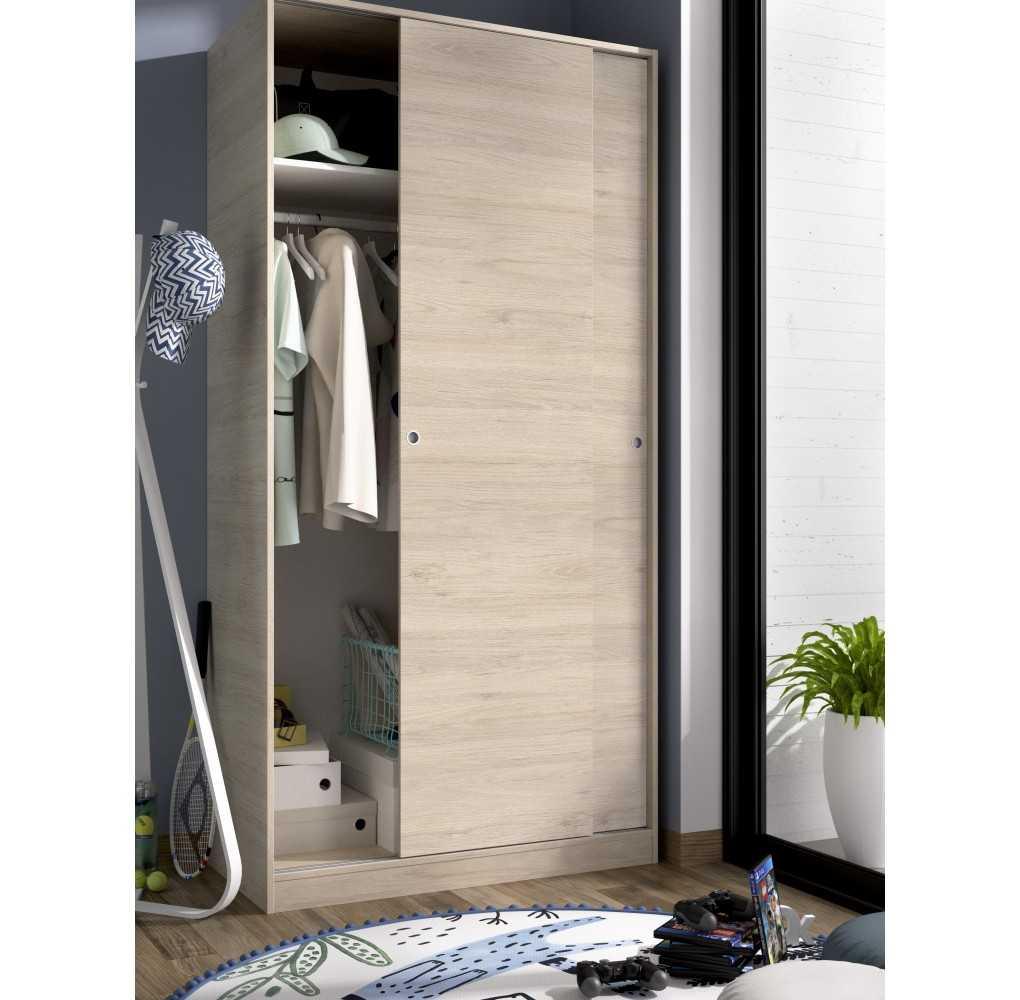 Armario con 2 Puertas Corredera Plus 100 Mueble Modelo Slide Natural